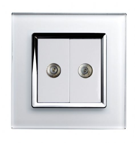 RetroTouch Dual TV Coax Socket White Glass CT 00321